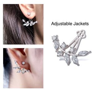 Silver/Crystal Studs w/Adjustable Earring Jackets